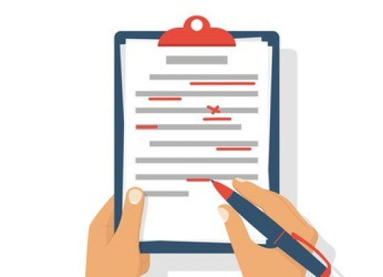 Editing documents to correct errors. Proofreader checks transcription written text. Clipboard and red pen in hands of men. Spell check. Vector illustration flat design. Isolated on white background.