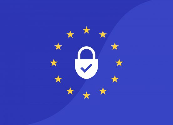 EU flag with security symbol for GDPR