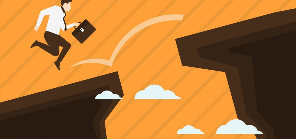 Businessman jump over the cliff. Concept business vector illustration