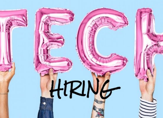 4 arms each holding a balloon in the shape of a letter that spell the word tech. Hiring is printed below the word tech.