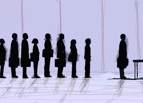 Image depicting the silhouettes of people standing in line waiting to interview
