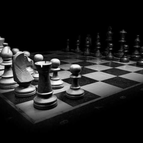 Black and white chess board meant to symbolize strategy