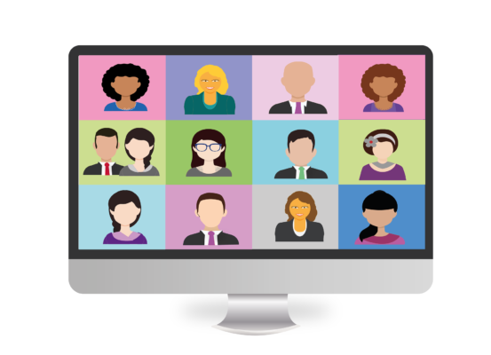 Computer screen with many cartoon faces meant to signify a remote working team