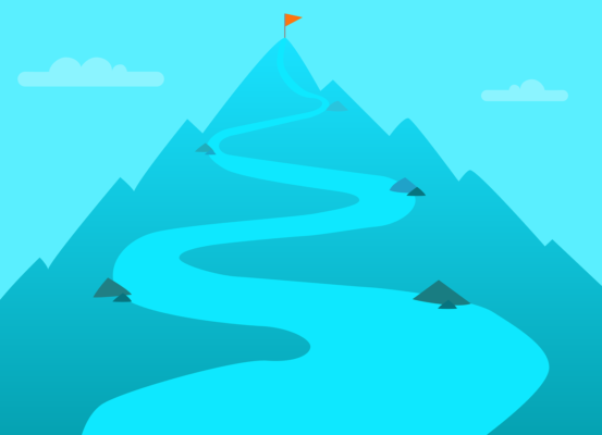 A path that leads to the top of a mountain with a flag on top. Meant to signify destination or career goals