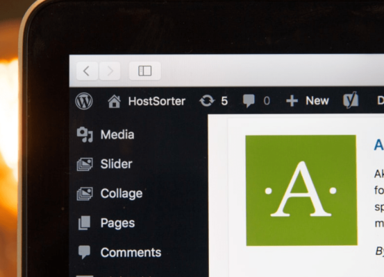 Laptop displaying a site creation page on WordPress