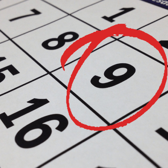 A circled date on a calendar