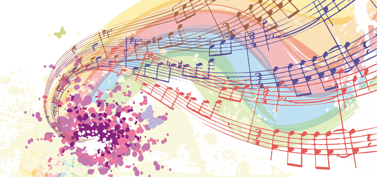 musical notes in a colorful swirling pattern