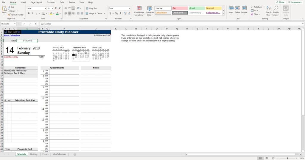 Daily planner excel spreadsheet