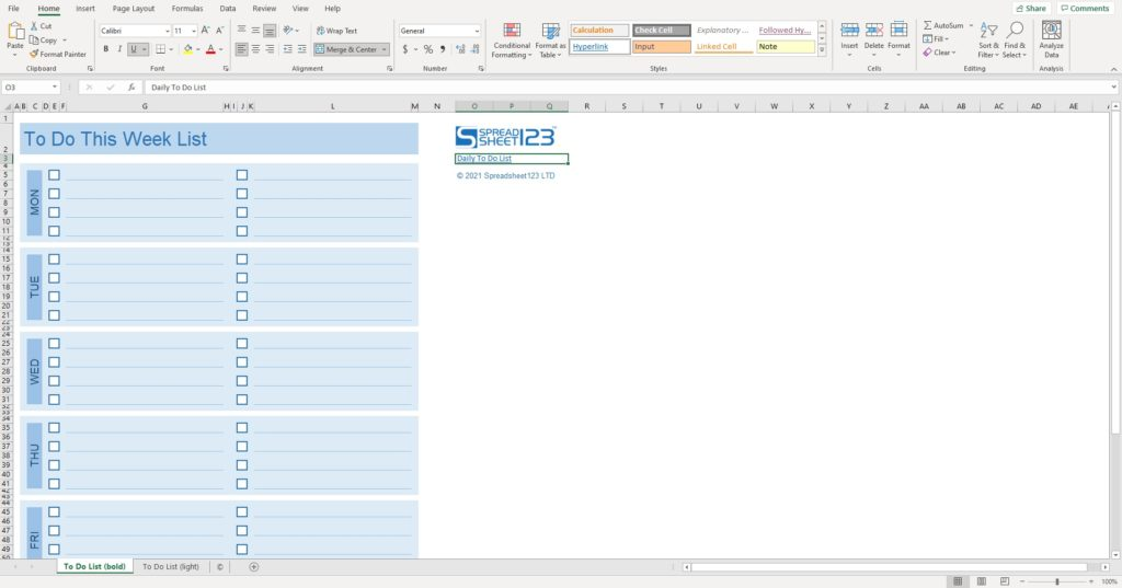 Daily to-do list excel spreadsheet