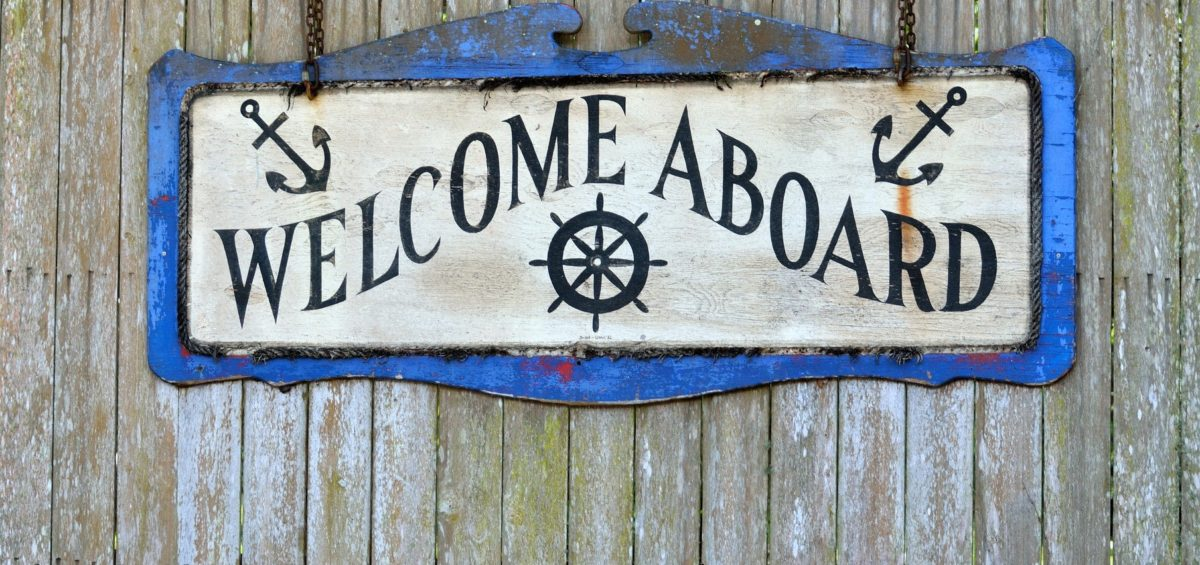 A welcome aboard sign