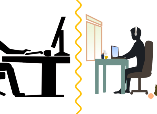 A picture split with the person on the left meant to depict a person working from the office and the one on the right meant to show a person working from home.