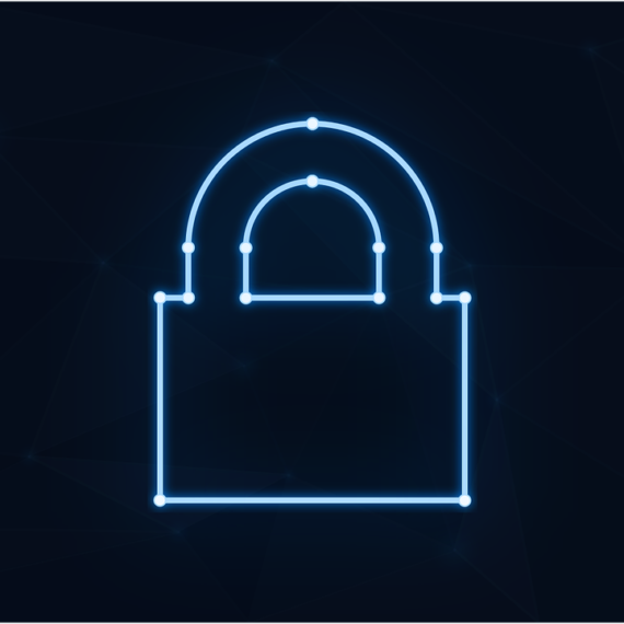 Illustration of a neon blue padlock on an all black background