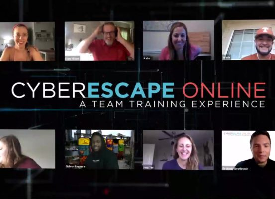 An image of people playing the game cyberescape online in an online meeting